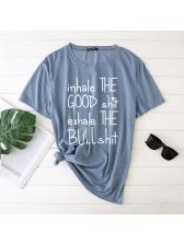 Letter Print Short Sleeve Plus Size Funny T Shirt