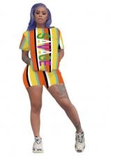 Contrast Color Striped Print Women Shorts Set