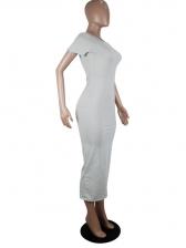 Solid Color Short Sleeve Skinny Maxi Dress