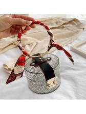 Glitter Sequins Clear Acrylic Cylinder Ladies Handbags