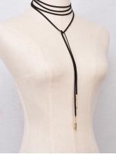 Leaves Pendant Black Woolen String Long Necklace