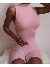 O Neck Sleeveless Bodycon Romper Plain Pure Color