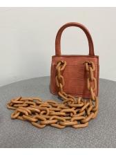 Thick Chain Stone Grain Pure Color Mini Handbags
