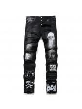Punk Style Skull Print Straight Leg Jeans