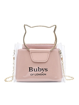 Transparent PVC Cat Shape Handle Ladies Handbags