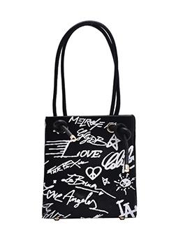Letter Graffiti Knotted Straps Women Shoulder Bags