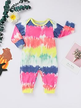 Tie Dye Long Sleeve Cute Baby Sleepsuit