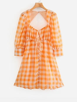 Plaid Puff Sleeve Backless Dress For Women