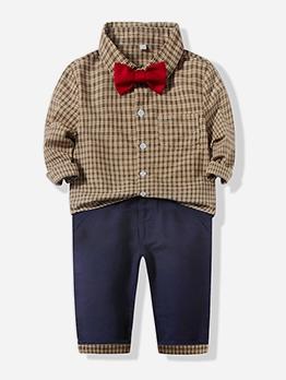 Tie Bow Plaid Lapel Baby Boy Suit Set