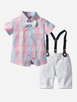 Casual Pure Suspender Shorts Boys 2 Piece Set