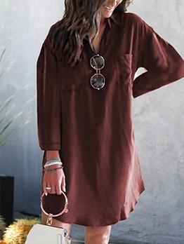 Simple Pure Color Women Long Sleeve Dress