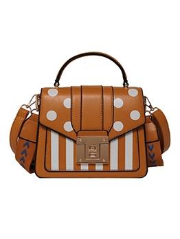 Polka Dot Stripes Wide Strap Shoulder Bag With Handle