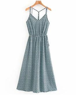 Summer Dot Fold Camisole Maxi Dress For Women
