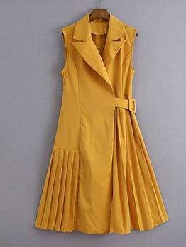 Lapel Collar Pleated Sleeveless Ladies Dress