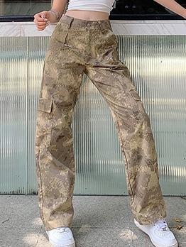 Camouflage Straight Leg Street Wear Cargo Pants
