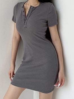 Button Up Neckline Solid Color Short Sleeve Dress