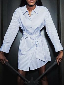 Single-Breasted Long Sleeve Striped Shirt Dress