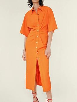Single-Breasted Orange Short Sleeve Shirt Dress