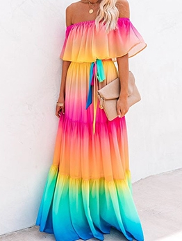 Summer Off Shoulder Gradient Color Maxi Dress