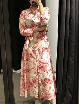 Single-Breasted Wrap Long Sleeve Shirt Dress