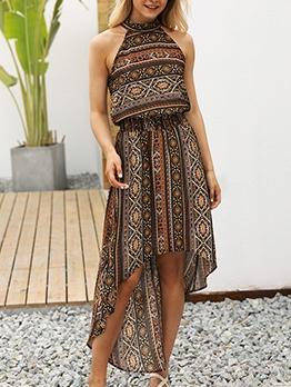 Bohemian Style Sleeveless Tie-Wrap Irregular Women Dress
