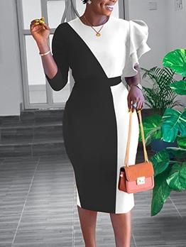 Contrast Color Asymmetric Sleeve Ladies Dress