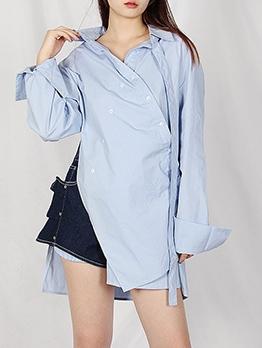 Boutique Chic Button Irregular Long Sleeve Blouse