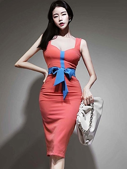 Contrast Color Bow Knot Bodycon Dress
