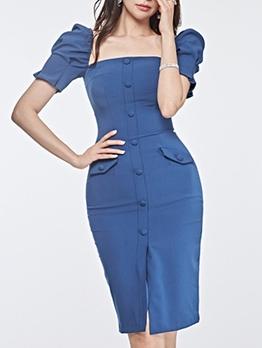 Square Neck Slit Shot Sleeve Dress