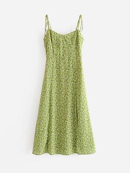 Green Floral Spaghetti Strap Summer Dresses