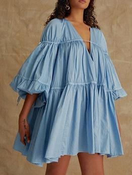 Boutique Long Sleeve V Neck A-line Dress