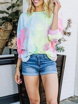 Gradient Color Tie Dye Backless Women T-Shirt