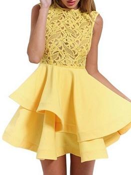 Lace Panel Bandage Sleeveless Dress