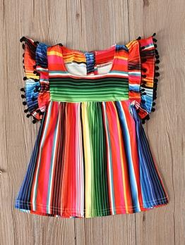 Colorful Striped Print Short Sleeve Girls Dress