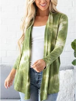 Casual Tie Dye Long Sleeve Women Cardigan Coat