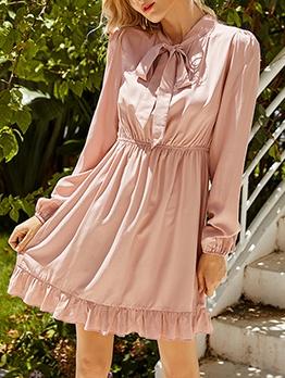 Stringy Selvedge Detail Long Sleeve Ladies Dress