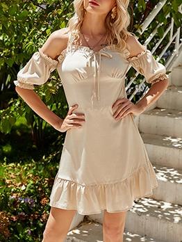 Stringy Selvedge Detail Off Shoulder A-Line Dress
