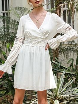 Hook Flower Patch White Long Sleeve Dress