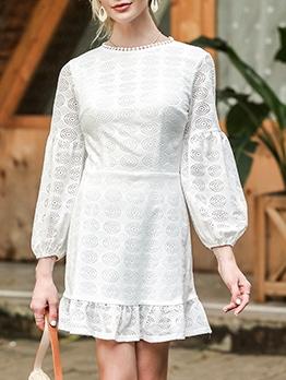 Hollow Out Lantern Sleeve White Ladies Short Dress