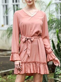 Stringy Selvedge Detail Flare Sleeve Women Dress