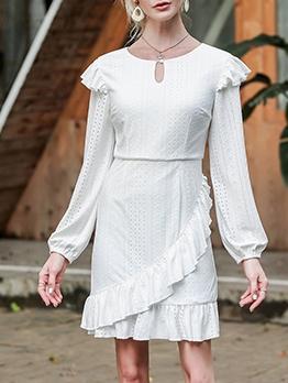 Elegant Hollow Out Lantern Sleeve White Dress