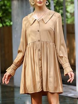 Single-Breasted Long Sleeve Khaki Short Dress