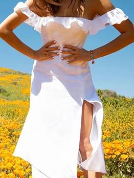 Square Collar Split Hem White Ladies Dress