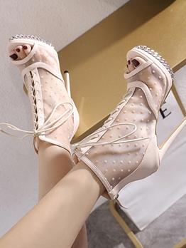 Peep Toe Gauze Patchwork Dots High Heel Boots