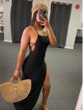 Sexy Split Hem Backless Black Maxi Dress
