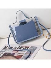 Transparent PVC Patchwork Pu Thin Strap Crossbody Bag