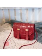 Versatile Style Alligator Print Solid Crossbody Bag