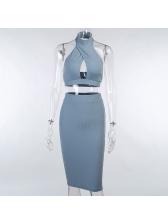 Halter Neck Backless Blue 2 Piece Skirt Set