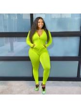 Fluorescent Green Zipper Up Hooded 2 Piece Outfits