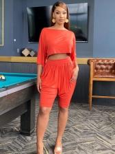 Half Sleeve Pure Color Casual Wear 2 Piece Sets